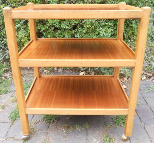 Light Beech Three Tier Tea Trolley